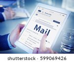 hands composing an email on a... | Shutterstock . vector #599069426