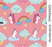 seamless pattern with cartoon... | Shutterstock .eps vector #599069603