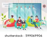 young people sit on bean bag... | Shutterstock .eps vector #599069906