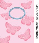 pink butterfly background | Shutterstock .eps vector #599070434
