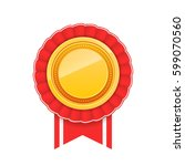 3d gold blank medal and red... | Shutterstock .eps vector #599070560