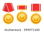 set of military 3d gold award... | Shutterstock .eps vector #599071100