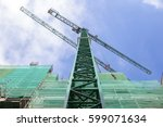 crane working while ... | Shutterstock . vector #599071634