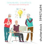 concept of training courses for ... | Shutterstock .eps vector #599071694