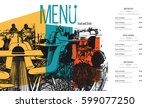 restaurant menu design. vector... | Shutterstock .eps vector #599077250