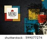 restaurant menu design. vector... | Shutterstock .eps vector #599077274