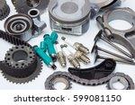 group automobile engine parts...   Shutterstock . vector #599081150