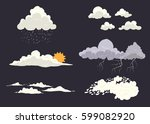 cloud types vector set isolated ... | Shutterstock .eps vector #599082920