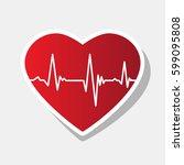 cardiogram on heart shape.... | Shutterstock .eps vector #599095808