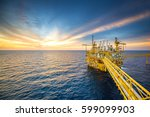 offshore oil and gas rig... | Shutterstock . vector #599099903