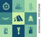 camp icons set | Shutterstock .eps vector #599102468