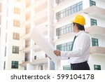 view of an engineer and worker... | Shutterstock . vector #599104178