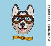 husky wearing a pilot glass... | Shutterstock .eps vector #599108516