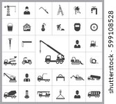 truck crane icon. construction... | Shutterstock .eps vector #599108528