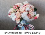 bridal bouquet with feathers | Shutterstock . vector #599113349