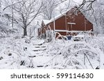 Red Barn And Snow Covered...