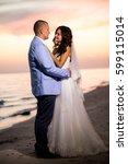 portrait of couple of lovers... | Shutterstock . vector #599115014