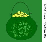 leprechaun pot of gold | Shutterstock .eps vector #599120984