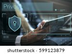 data security system shield...   Shutterstock . vector #599123879
