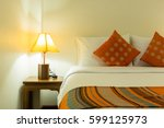 bed and lamp pillows and... | Shutterstock . vector #599125973