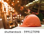 used and old safety helmets ... | Shutterstock . vector #599127098