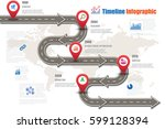 design template  road map... | Shutterstock .eps vector #599128394