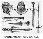 medieval symbols  helmet and... | Shutterstock .eps vector #599128466