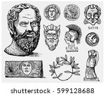 ancient greece  antique symbols ... | Shutterstock .eps vector #599128688