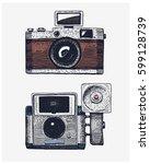 photo camera vintage  engraved... | Shutterstock .eps vector #599128739