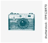 photo camera vintage  engraved... | Shutterstock .eps vector #599128970