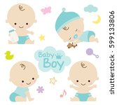 vector illustration of baby boy ... | Shutterstock .eps vector #599133806