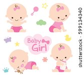 vector illustration of baby... | Shutterstock .eps vector #599134340