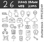 web icons hand drawn vector... | Shutterstock .eps vector #599135249