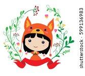 adorable little girl in bear... | Shutterstock .eps vector #599136983