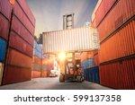 industrial container cargo... | Shutterstock . vector #599137358