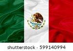 mexico flag of silk 3d... | Shutterstock . vector #599140994