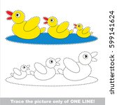 two funny yellow ducks. dot to... | Shutterstock .eps vector #599141624