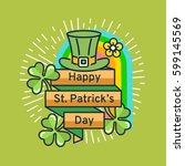 st. patrick's day flat line... | Shutterstock .eps vector #599145569