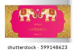 indian invitation card... | Shutterstock .eps vector #599148623