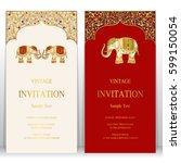 indian invitation card... | Shutterstock .eps vector #599150054