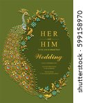 indian wedding invitation card... | Shutterstock .eps vector #599158970