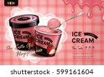 strawberry flavor ice cream ad  ...   Shutterstock .eps vector #599161604