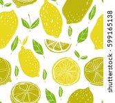 seamless pattern with lemons... | Shutterstock .eps vector #599165138