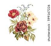 Watercolor Bouquet Of Elegant...