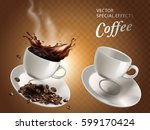 two coffee cups  one empty and... | Shutterstock .eps vector #599170424