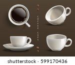 four coffee cups  gray... | Shutterstock .eps vector #599170436