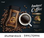 instant coffee ad  with coffee... | Shutterstock .eps vector #599170994