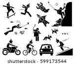action camera headset. man... | Shutterstock .eps vector #599173544