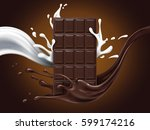 hazelnut chocolate ad with milk ... | Shutterstock .eps vector #599174216