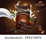 hazelnut chocolate ad with milk ... | Shutterstock .eps vector #599174870